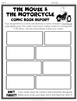 The Mouse and the Motorcycle Project: Design a Comic Strip Book Report Activity