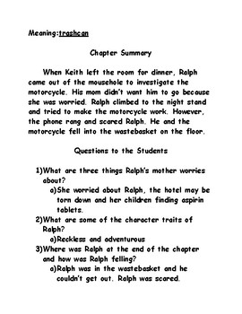The Mouse and the Motorcycle Chapter Summary Page - Teacher Edition