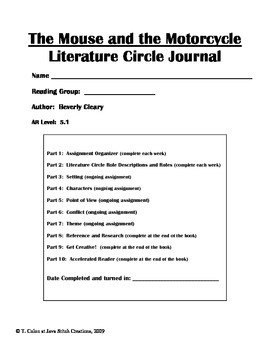 The Mouse and the Motorcycle Literature Circle Journal Student Packet