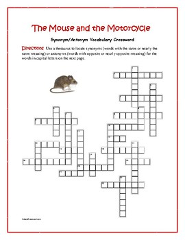The Mouse and the Motorcycle: Synonym/Antonym Vocabulary Crossword