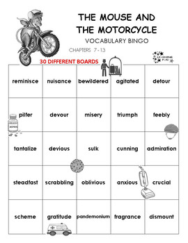 The Mouse and the Motorcycle Vocabulary Bingo