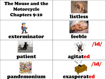 The Mouse and the Motorcycle Vocabulary Visuals (for ELLs) + Fluency