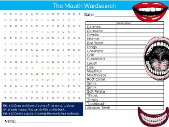 The Mouth Wordsearch Puzzle Sheet Keywords Homework Science Biology Dentists