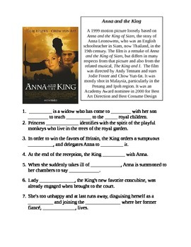 The Movie Anna & the King Classroom Worksheet
