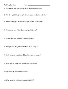 """The Movie """"Rudy"""" Questions"""