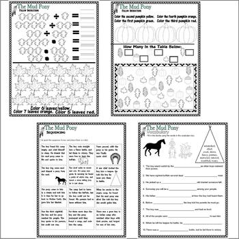 The Mud Pony : Native American Indian Comprehension Book Study 18pg Packet