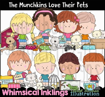 The Munchkins Love their Pets Clipart Collection