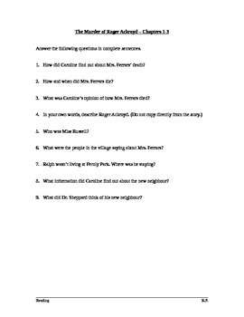The Murder of Roger Ackroyd (Learners' Edition) - Chapters 1-3 Questions