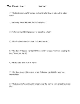 The Music Man Video Worksheet