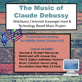 Music of Claude Debussy - WebQuest & Music Composition | Distance Learning
