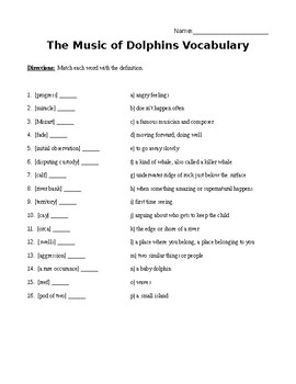 The Music of Dolphins Vocab, Sequencing & Phrase Match Package