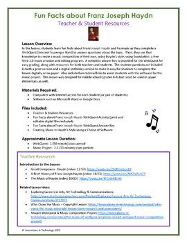 Music of Franz Joseph Haydn - WebQuest & Music Composition | Distance Learning