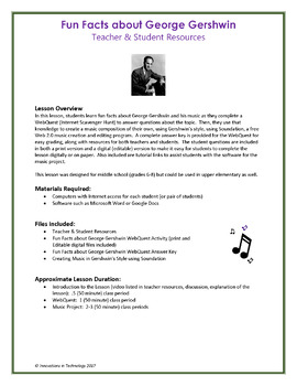 The Music of George Gershwin - WebQuest & Music Composition Project