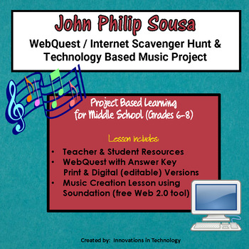 Music of John Philip Sousa - WebQuest & Music Composition | Distance Learning