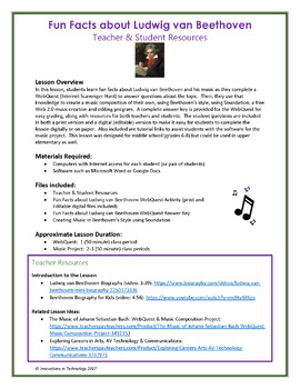 The Music of Ludwig van Beethoven - WebQuest & Music Composition Project