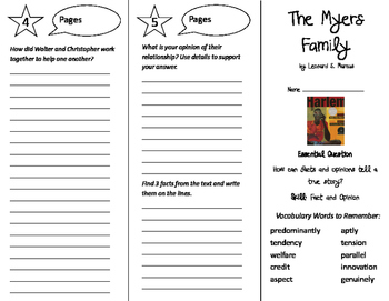 The Myers Family Trifold - Journeys 6th Grade Unit 1 Week 5 (2011)