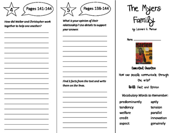 The Myers Family Trifold - Journeys 6th Grade Unit 1 Week 5 (2014, 2017)
