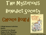 The Mysterious Benedict Society Choice Board Novel Study Activities Menu Project