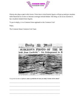 The Mysterious Case of The Loch Ness Monster: An ELA Workout