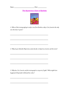 The Mysterious Giant of Barletta Comprehension Questions
