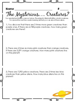 The Mysterious Planet - A Multiplication and Division Problem Solving Project