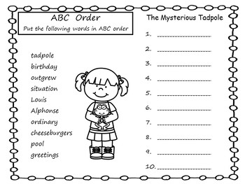 The Mysterious Tadpole   ~    35  pgs Common Core Activities