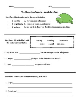 The Mysterious Tadpole Vocabulary & Comprehension Test - Journeys