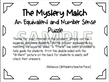 The Mystery Match: An Equivalent and Number Sense Puzzle