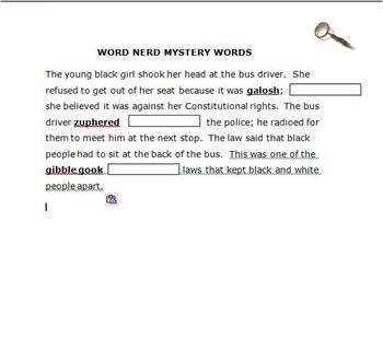 The Mystery is Over - understanding context clues