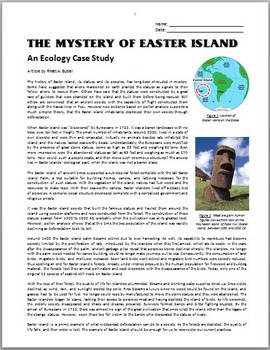 The Mystery of Easter Island - An Ecology Case Study Activity FREE {Editable}