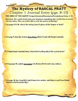 The Mystery of Rascal Pratt Assessment/Activity 155 Page CCSS Reading Unit
