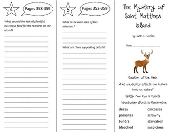 The Mystery of Saint Matthew Island Trifold - Reading Street 5th Gr U 6 Week 2