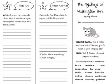 The Mystery of Washington Park Trifold - Open Court 5th Grade Unit 4 Lesson 5