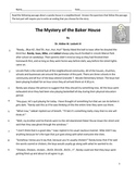 The Mystery of the Baker House Reading Comprehension passage