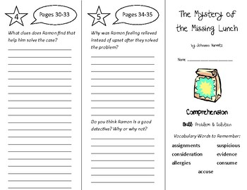 The Mystery of the Missing Lunch Trifold - Treasures 4th Grade Unit 1 Week 1