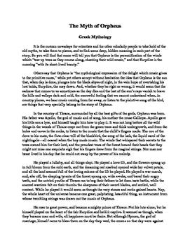 The Myth of Orpheus