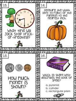 The NOT So Scary Halloween Math Task Cards: All 4 Common Core Domains!