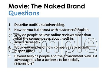 The Naked Brand Marketing Movie Questions