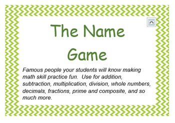 The Name Game - Fun Math Skill Practice Activity