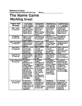 The Name Game Marking Sheet