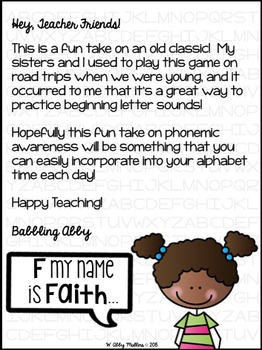 The Name Game! {a beginning sounds activity}
