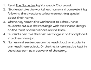The Name Jar Activity