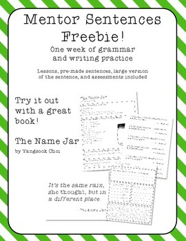 The Name Jar Mentor Sentences Pack