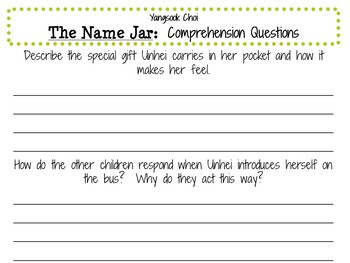 The Name Jar by Yangsook Choi:    A Complete Literature Study!