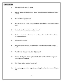The Namesake Chapter Study Guides w/ Vocab and Answer Keys