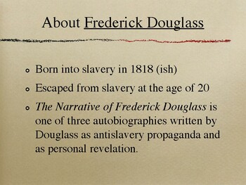 The Narrative of Frederick Douglass Background Notes and Elements of Syntax