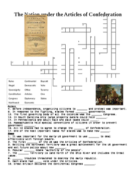 The Nation under the Articles of Confederation Crossword Puzzle or Web Quest