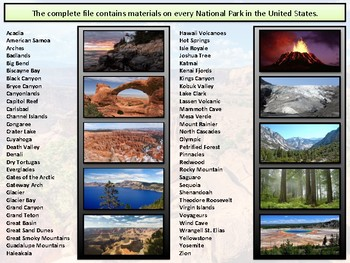 The National Parks : Project Based Unit : Complete Bundle