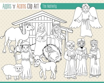The Nativity Clip Art - color and outlines