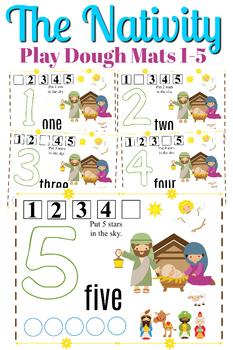 The Nativity Play Dough Mat Set Numbers 1-5